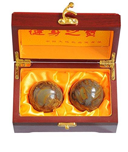 Juanxian 5,1 cm Feng Shui Nuwa Stein Baoding-Bälle Chinesische Gesundheit Übung Stress Bälle mit Geschenkbox