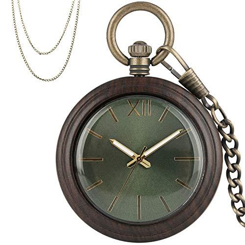 XVCHQIN Reloj de Bolsillo de Cuarzo de Madera Reloj Colgante de Madera de ébano Reloj Colgante de Bolsillo de Bronce Antiguo con Cadena Fob, Madera