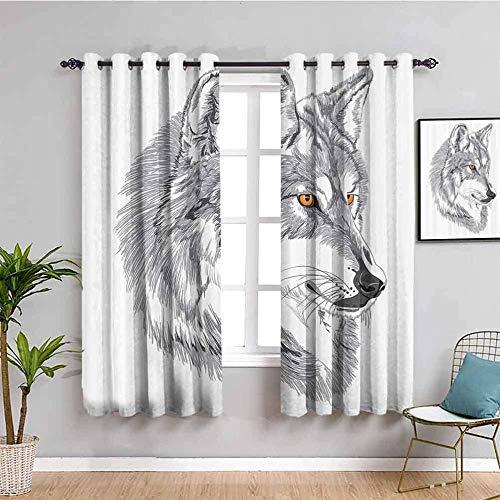 Azbza Cortinas Opacas Salón - Blanco lobo animal simple - 90% Opacas Proteccion Intimidad - W180 x H200 cm - Salón Dormitorio Cortina Gruesa y Suave para Oficina Moderna Decorativa Cortinas