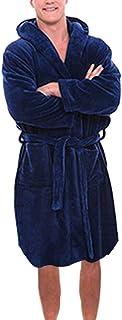 jin&Co Mens Robe with Hood and Pocket Fleece Pure Colour Knee Length Spa//Bath Plush Bathrobe Robes Dark Blue