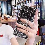 Uposao Cover Compatibile con Huawei P30 Lite Custodia Glitter Bling Brillantini Diamond Placcatura in Silicone TPU Cover Morbida con Supporto ad Ring Anello Stand,Black