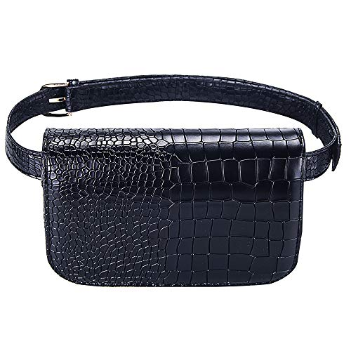 Badiya Women's Mini Waist Bag Fanny Packs Crocodile Leather Cell Phone Pocket