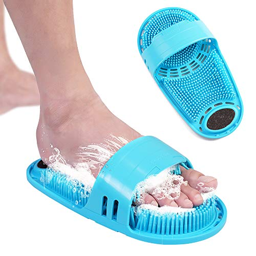 meidong Silicone Shower Foot Scrubber Personal Foot Massage and Cleaning, Non-slip Foot Scrubber for Men and Women (1PCS Blue)
