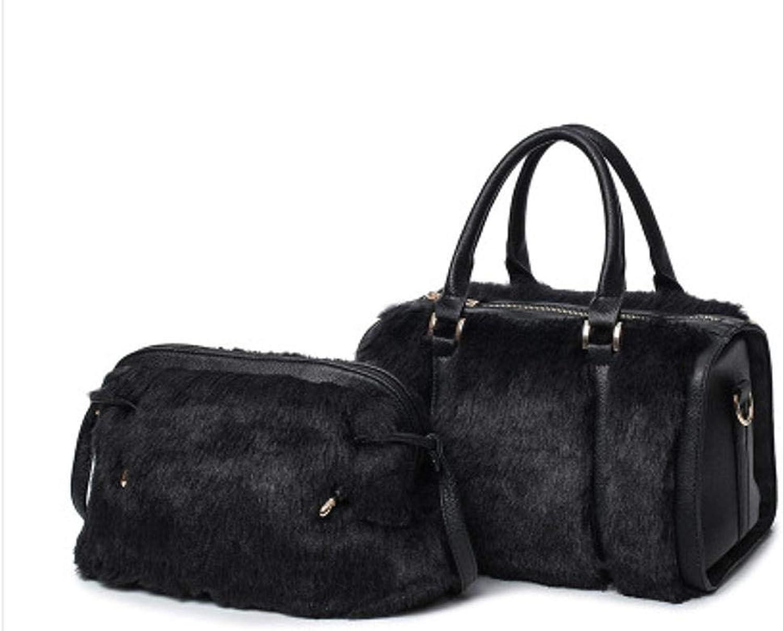 GSKTY Damen Damen Damen Umhängetasche PU Plüsch Einzelne Schulter schräg Damentasche Zweiteiliges Set B07KLMD1QC  Großhandel a49c59