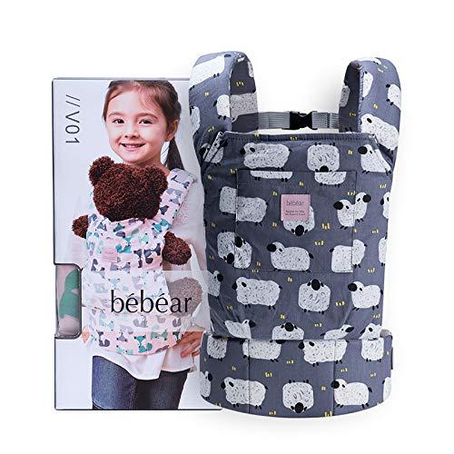 Bebamour Porta Muñecas para Niños Portabebés Delantero y Trasero Original de Algodón para Muñecas para Niños y Niñas (Grey Sheep)