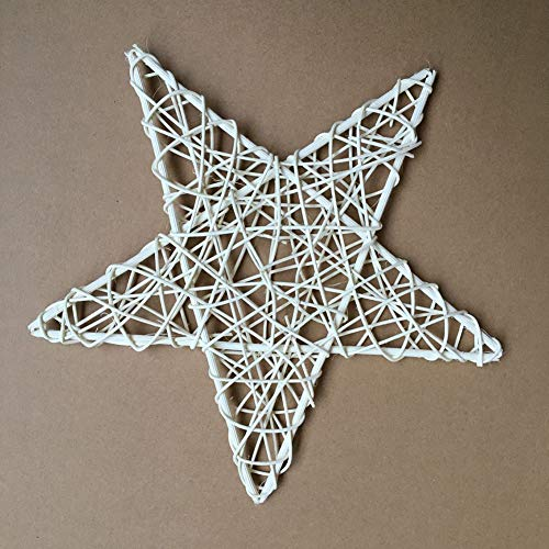 HShyxlkj kerstslinger, rotan slinger om zelf te maken, Star Garland Party Xmas Tree Window Wedding Decor – 12 cm 12cm 1 kleur