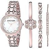 Anne Klein Women's Swarovski Crystal Accented Rose Gold-Tone Watch and Bracelet Set, AK/3488RGST