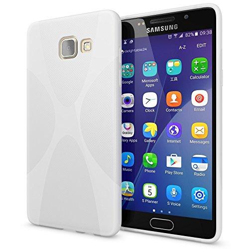 NALIA Custodia compatibile con Samsung Galaxy A5 2016, Cover Protezione Ultra-Slim Case Resistente Protettiva Cellulare in Silicone Gel, Gomma Morbido Bumper Copertura Sottile - X-Line Bianco