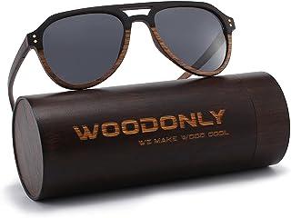 Aviator Wood Polarized Sunglasses - Cool Style Wooden Sun...