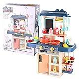 TONZE Kinderküche Spielküche Küchenspielzeug ab 3 4 5 6 Jahren,42 Stück Küchen Zubehör mit Lebensmittel und Topfset mit Funktion Klängen und Licht Rollenspiel für Kinder