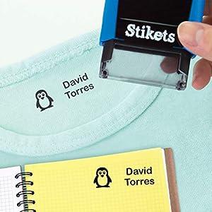 Sello rectangular personalizado para marcar ropa y objetos para niños ideal para el cole o la guardería sin montaje 3,6 x 1,2 cm