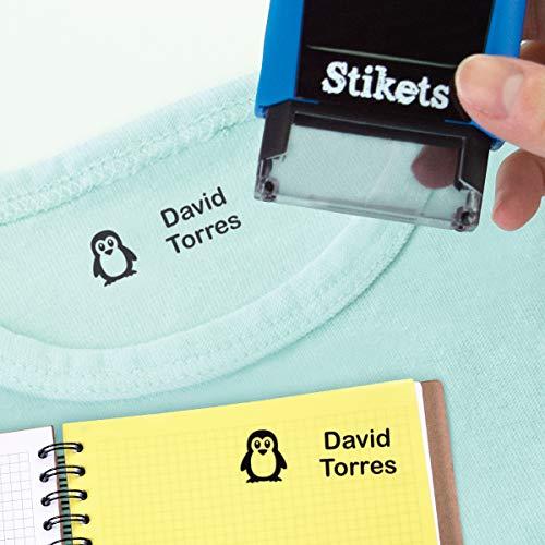Sello rectangular personalizado para marcar ropa y objetos para niños ideal para el cole o la guardería sin montaje 3,6 x 1,2 cm Stikets®