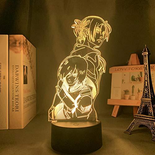Lámpara USB Led 3D Anime Attack On Titan Annie Leonhart Luz Led para decoración de dormitorio Niños Attack On Titan Led Night Light Mikas-16_Color_With_Remote