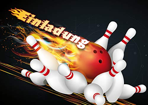 Bowling-Einladungen (Set 1): 10-er Set Bowling-Einladungskarten zum Kindergeburtstag oder zum Bowling / Kegel-Abend von EDITION COLIBRI © (10694)