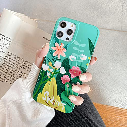 Funda de teléfono con patrón de Hoja de Flor de Acuarela para iPhone 11 12 Pro MAX XR XS X 7 8 Plus 12 SE 2020 Cubierta de Planta de TPU Suave a Prueba de Golpes-For_iPhone_SE_2020_T2