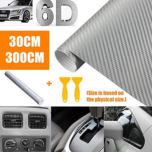 bangminda Auto 6D Carbon Folie, 30CM Silber Carbonfaseraufkleber, Wasserdichter Autoaufkleberblasenfreie Carbon Folie Autoaufkleber Autofolie aus Vinyl (300cm)