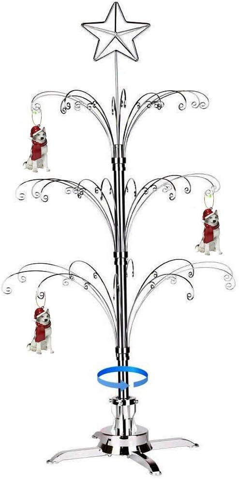 HOHIYA Max 47% OFF Ornament Department store Display Tree Stand Christmas Metal Rotating Dog