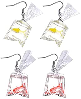 2 Pairs Funny Goldfish Earrings,Water Bag Shaped Dangle Hook Earrings Charm Jewelry Gift Earrings for Women Girls(One Red One Yellow)