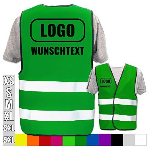 Warnweste mit eigenem Aufdruck selbst gestalten * Bedruckt mit Name Text Bild Logo Firma, Position & Druckart:Rücken + Front/Standard-Druck, Farbe & Größe:Grün/Größe S