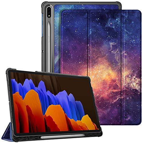 Fintie Hülle für Samsung Galaxy Tab S7 Plus 12.4 Zoll, Ultra Schlank Kunstleder Schutzhülle mit Stifthalter, Auto Schlaf/Wach Funktion für Tab S7+ SM-T970/975, Galaxie