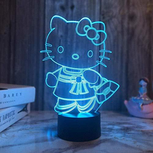 Lindo gato 3D luz de noche LED colorido presentación de diapositivas USB táctil control remoto lámpara de escritorio decoración del dormitorio del hogar juguete de regalo especial para niños