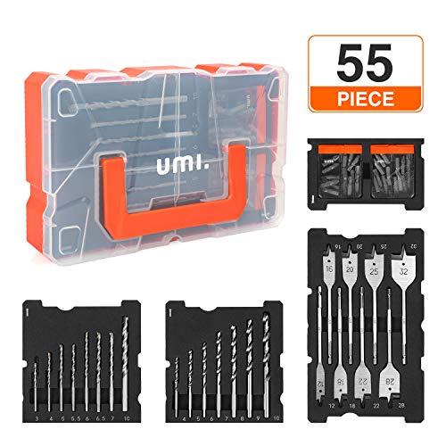 Umi. by Amazon- Bohrer und Schrauber Set, 55tlg, für Holz-, Metall-, Zementbohrungen und Schraubenantriebe, inkel Kunststoffkoffer