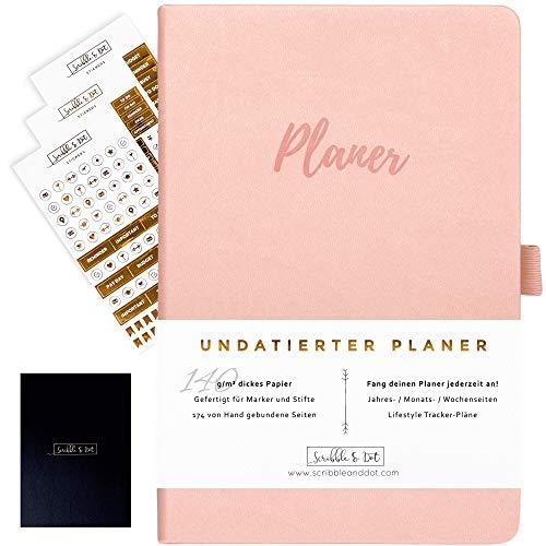 2021 Planer Diary Wochenplaner Undatiertes Tagebuch Organiser - A5 Dickes Papier 140gsm - Kalender Ohne Datum - Wochen/Monats/Jahres-Planer Notizbuch Reiseplaner Terminplaner -Pink/Rosa