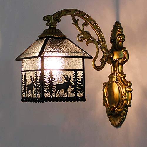 DALUXE Lámpara de Pared, Estilo Retro de Estilo Tiffany Modeling Decoración de Alces con Cristal Manchado de Diamantes de imitación, Luces de Pared de Dormitorio de Bar cafetería, E27
