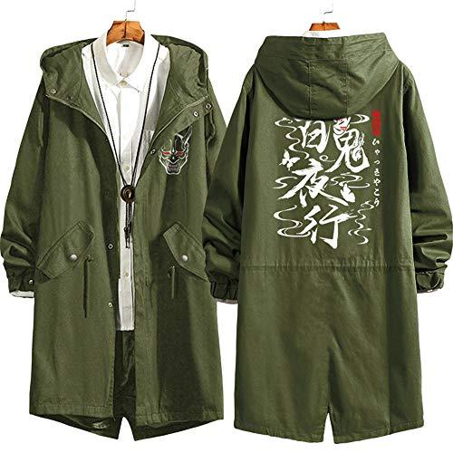 Blousons Coupe-Vent des Esprits Maléfiques Autour De L'Anime Dans Le Long Manteau Veste À Capuche pour Homme Et Femme Army Green (Plus Velvet) L
