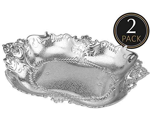 Large Silver Plastic Food Serving Tray - 2 Pack Reusable Decorative Rectangular Appetizer Platter - Elegant Modern Weaved Design for Kitchen Party Centerpiece Display - by Impressive Creations