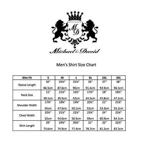 Michael & David Men's Casual Fashion Slim Fit Long Sleeve Dress Shirts MD272