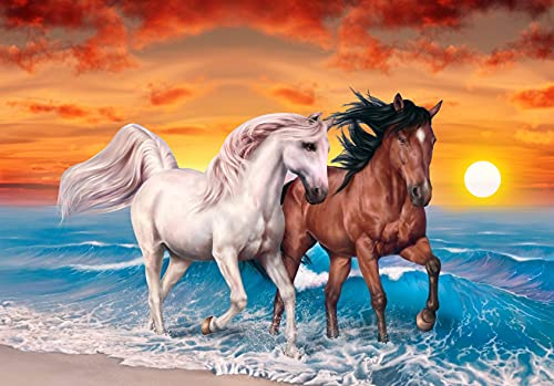 Horse DIY 5D Diamond Painting Kits Full Drill Diamond Painting horseCrystal Rhinestone Embroidery Pictures Cross Stitch Arts Craft for Home Wall Decor Gift 12X16 inches…