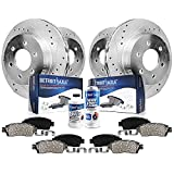 Detroit Axle - Front Rear Drilled & Slotted Rotors + Ceramic Brake Pads Replacement for Chevy Traverse Enclave Acadia Outlook - 10pc Set