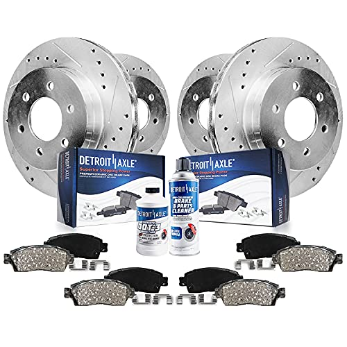 Detroit Axle - Front and Rear Disc Rotors + Brake Pads Replacement for Chevy Tahoe Silverado Suburban Sierra 1500 Yukon - 10pc Set