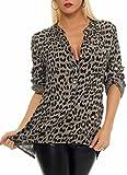 Malito Blusa con Animal-Print Safari 3/4 Túnica Parte Superior Top Obersized 6702 Mujer Talla Única (Fango)