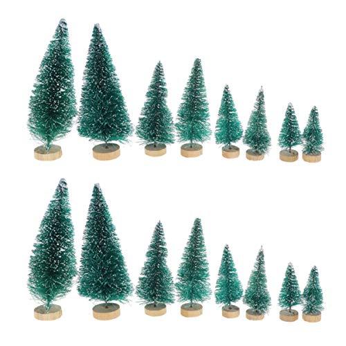 NUOBESTY 34 Stücke Mini Weihnachtsbaum Figuren Weihnachten Miniatur Deko Kleine Tannenbaum Künstlicher Christbaum Büro Tischdeko Micro Landschaft Dekoration