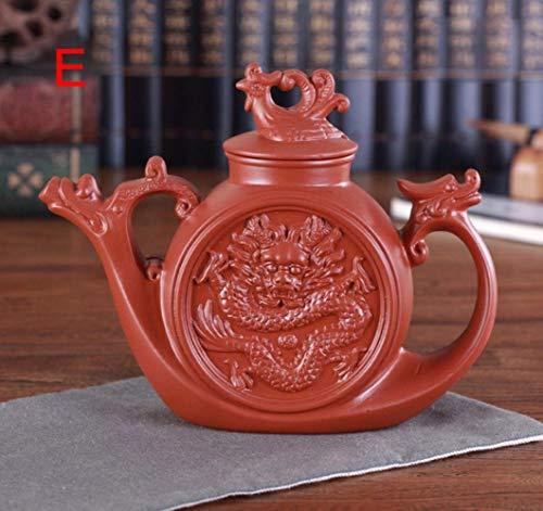 Xst Tetera de arcilla púrpura, tetera china tradicional Dragón y Phoenix Tetera Premium Tetera, arcilla púrpura kungfu juego de té