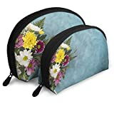 Bright Bouquet Placed Blue Toned Desk Cosmetic Bag Portable Bags Professional Cosmotic Case 2 Packs Makeup Bag for Women and Girls