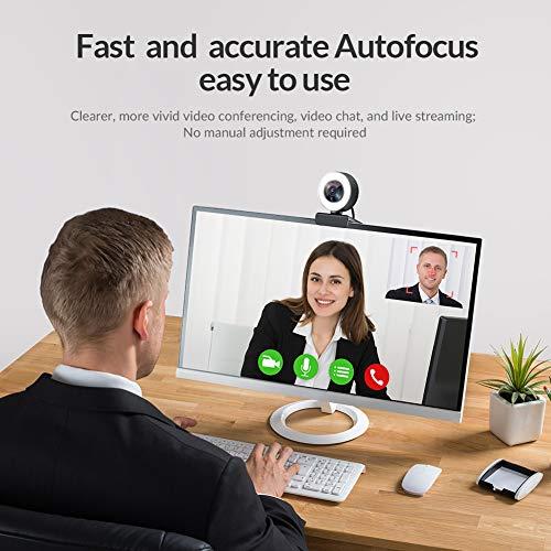 Webcam für Game-Streaming 1080p/eingebauter Einstellbarer Ringlicht/Autofokus (AF) Streamer Webcam für Xbox-Gamer, Facebook und YouTube Streamer