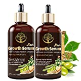 2 Pack Hair Growth Serum, 60ML Ginseng and Ginger Essential Oil to help Hair Loss and Hair Thinning Treatment, Stops Hair Loss, Thinning, Balding, Repairs Hair Follicles, Promotes Thicker -2 oz