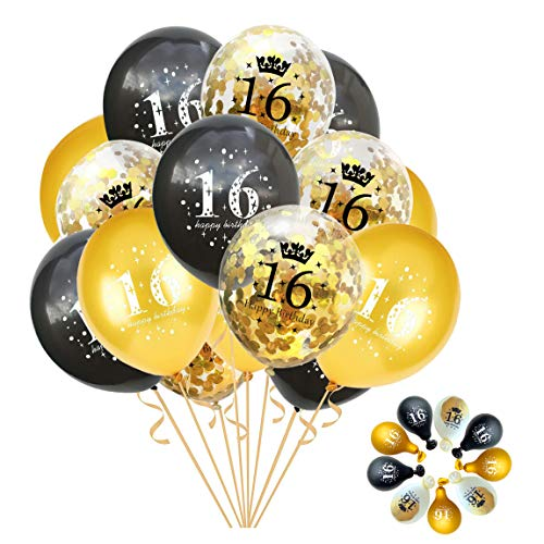 Jonhamwelbor Sweet 16th Birthday Balloons Gold and Black Party Decorations 15 Pack 12 inch Latex and Confetti Balloon Printed with Happy Birthday 16 for Girl Boy