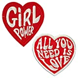 2Pcs The Beatles All You Need is Love Funny Red Love Heart Feminist Girl Power Iron On Sew On Embroidered Patch for Jackets Backpacks Jeans and Clothes Badge Applique Sign Sport Decal