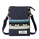 AOCINA Cell Phone Purse Wallet National Style Small Crossbody Purse Bags for Women(Blue)
