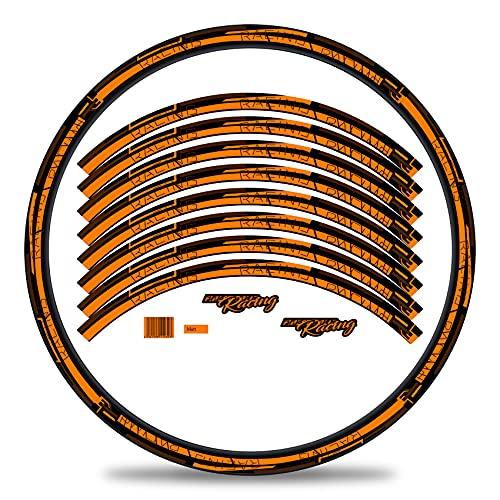 Finest Folia Juego de 16 adhesivos para llantas de bicicleta rayas diseño completo para 27 a 29 pulgadas para bicicleta de carretera de montaña (naranja neón, mate)