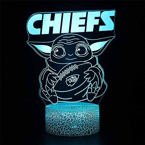 Luz de ilusión 3D Chiefs Star A Wars Baby Yoda Led Night Light 17 Colores Led Luces con Interruptor Táctil para Niños Regalos Decoración Dormitorio