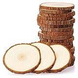 Fuyit Rondin de Bois 9-10cm sans Trou 20 Pcs Tranches de Bois Naturel Convient pour Decoration Noel Bois, Marque Place Mariage, Pyrograveur Bois