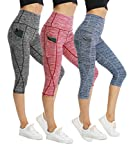 CongYee Sport Women's Yoga Capris Tummy Control Yoga Pants for Women with Pockets High Waisted Yoga Capri Leggings heihongqing M