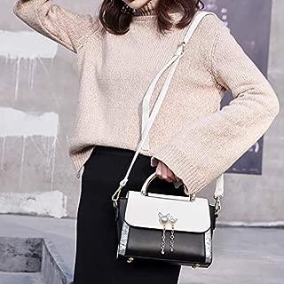 WTYD Single Shoulder Bag Cat Pearl PU Leather Single Shoulder Crossbody Bag Ladies Handbag (Black) (Color : White)