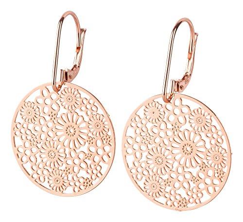 Filigrana, molto leggeri orecchini in argento placcato in acciaio INOX placcato, Argento, colore: Blume, cod. 32683