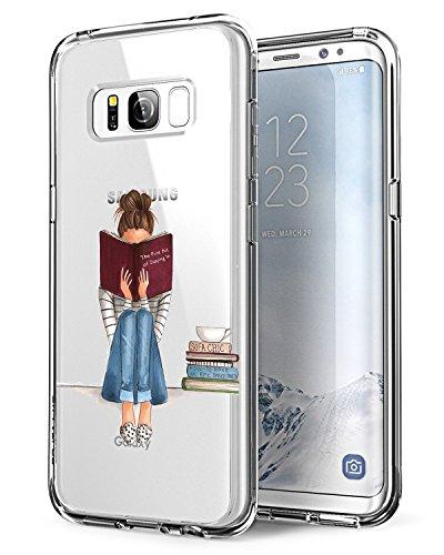 Alsoar ersatz für Samsung Galaxy S8 Hülle,Galaxy S8 Case, [Ultradünn] Soft Durchsichtige Handyhülle Schutzhülle Silikon TPU Flexibel Stoßfest Kratzfest Mädchen Kaktus für Samsung S8 (Mädchen Lesen)